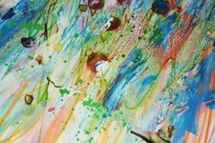 泥泞的铅笔水彩绿色橙黄蜡斑点,创造性的设计 库存照片
