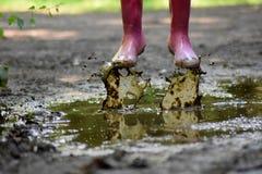 泥泞的水坑 免版税库存图片
