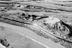 泥火山池塘和泥在vulcanii noroiosi储备paclele桃莉buzau县罗马尼亚放出看起来象月球风景 免版税库存图片