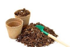 泥煤罐土壤 免版税库存照片