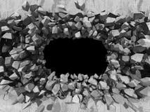 水泥石墙的破坏 黑暗的孔工业backgro 免版税库存照片