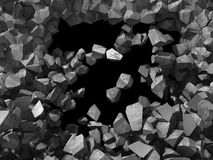 水泥石墙的破坏 黑暗的孔工业backgro 免版税库存图片