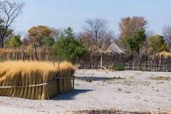 泥秸杆和木小屋与茅屋顶在灌木 农村卡普里维小条的,在Na的居住于的区域地方村庄 库存照片