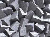 水泥立方体墙壁混乱建筑学背景 库存例证