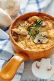 泥罐用油煎的蘑菇、鸡和乳酪 库存照片
