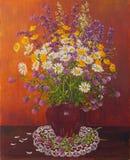 泥罐的静物画花束野花 油原始绘画 作者s绘画 向量例证