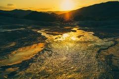 泥风景在Buzau,罗马尼亚 免版税库存照片