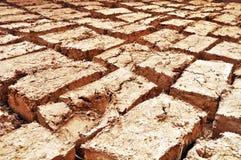 泥,黏土,秸杆手工制造砖 免版税库存图片