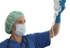 注入被屏蔽的护士 库存图片