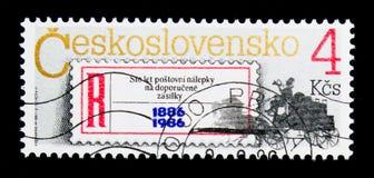 注册标签和邮件马车,周年serie,大约1986年 免版税库存图片