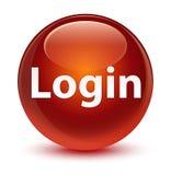 注册玻璃状棕色圆的按钮 免版税库存照片
