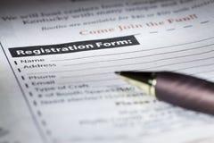 注册表格 免版税库存照片