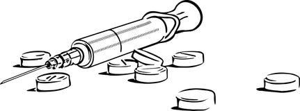 注射器片剂 皇族释放例证