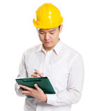 注意关于剪贴板的工头 免版税库存图片