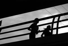 注意妇女的鸟慢跑者 免版税图库摄影