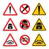 注意强盗标志集合 停止小心歹徒 它是禁止的B 皇族释放例证