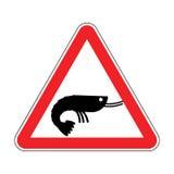 注意虾 红色路标的危险 浮游生物小心 免版税库存照片