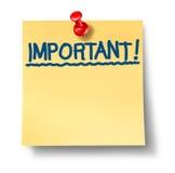 注意重要重要办公室过帐提示 免版税库存照片