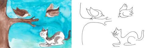 注意鸟的猫 免版税库存图片