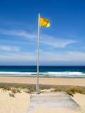注意,在海滩的黄旗 免版税图库摄影