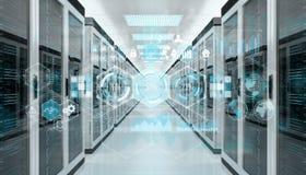 注标飞行在服务器室数据中心3D翻译的全息图 免版税库存照片