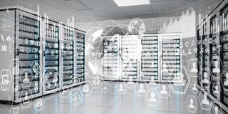 注标飞行在服务器室数据中心3D翻译的全息图 库存图片