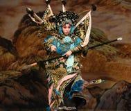 """注视北京Opera""""杨Family†的妇女将军的注意 免版税库存图片"""