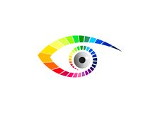 注视商标、视觉标志、时尚玻璃象,秀丽视觉品牌、豪华视觉图表和隐形眼镜构思设计 库存图片