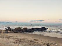 注视着沿海在布赖顿海滩日落 免版税图库摄影