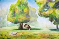 注视马结构树下 图库摄影