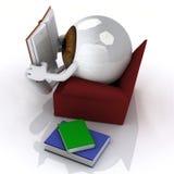 注视读从长沙发的球一本书 皇族释放例证
