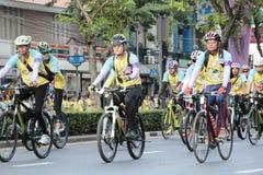 泰国人和外国乘驾在爸爸活动的自行车骑自行车荣誉泰国国王的 免版税库存图片