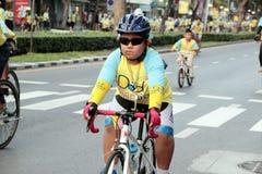泰国人和外国乘驾在爸爸活动的自行车骑自行车荣誉泰国国王的 库存图片