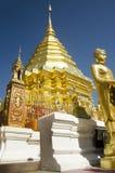 泰国人和外国人尊敬的金黄chedi祈祷和posi 免版税图库摄影