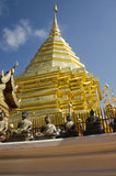 泰国人和外国人尊敬的金黄chedi祈祷和posi 库存照片