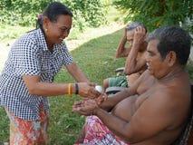 泰国人庆祝Songkran天 库存照片