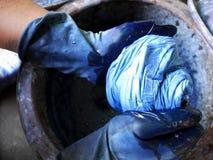 泰国人栓洗染帕府人的土产知识蜡染布我 库存照片