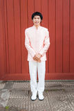 泰国人/新郎泰国婚礼衣服的 免版税库存照片