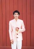 泰国人/新郎泰国婚礼衣服的 免版税库存图片