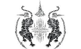 泰国传统纹身花刺,在寺庙传染媒介的泰国传统绘画 库存图片
