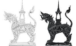 泰国传统纹身花刺,在寺庙传染媒介的泰国传统绘画 向量例证
