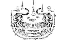 泰国传统纹身花刺,老虎 免版税库存照片