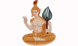 泰国传统绘画,纹身花刺,破裂的颜色绘画 免版税库存图片