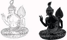 泰国传统绘画,纹身花刺,破裂的颜色绘画 库存照片