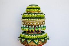 泰国传统结婚礼物装饰盘子  免版税库存照片