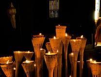 泰国传统蜡烛在佛教宗教节日 库存照片