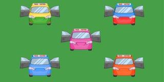 泰国出租汽车盖帽汽车前面视图门户开放主义的运输业务载客车辆类型黄绿色紫色蓝色橙红传染媒介 皇族释放例证