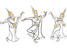 泰国古典舞蹈的例证 免版税库存图片