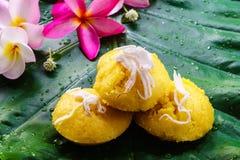泰国可口点心棕榈汁蛋糕甜的口味 免版税库存图片