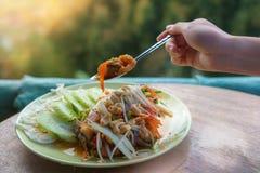 泰国可口食物Pla Chon Lui Suan或油煎的镶边s盘  库存图片
